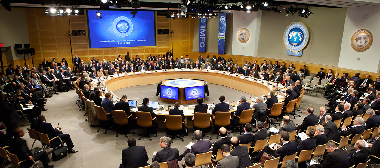 The International Monetary and Financial Committee (IMFC) Governors meet at their Plenary session chaired by Tharman Shanmugaratnam on April 16, 2011 at the International Monetary Fund Headquarters in Washington, DC. The IMF/World Bank Meetings are being held in Washington, DC this week which will host Finance Ministers and Bank Governors from 187 countries.  = RESTRICTED TO EDITORIAL USE - MANDATORY CREDIT