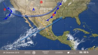 Frente frío número 17 mantendrá temperaturas bajas en Sinaloa: SMN