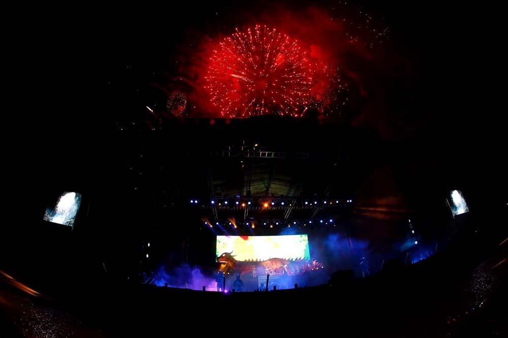 Fuegos artificiales sobre un hermoso escenario.