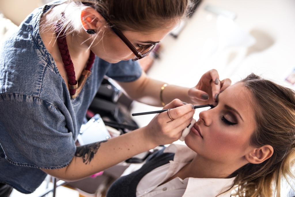 Female Make-up artist work in her studio.