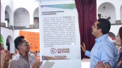 Jesús Valdés revela placa de no discriminación en el Ayuntamiento de Culiacán