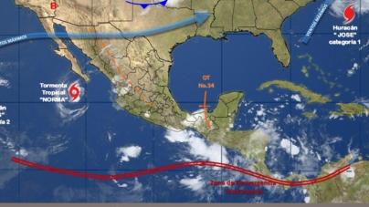 La tormenta 'Norma' podría provocar hasta lluvias fuertes este lunes
