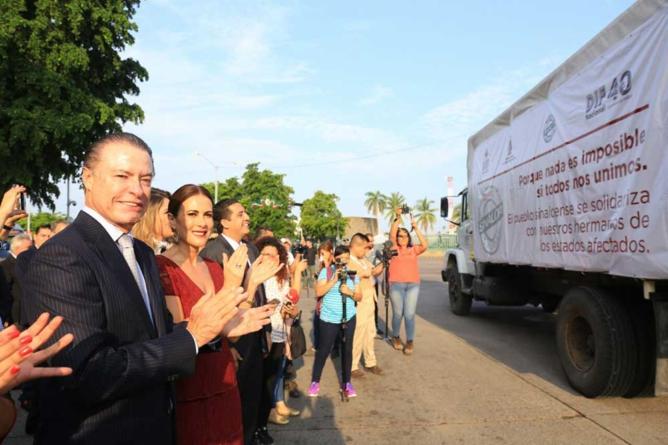 Sinaloa envía 200 toneladas de apoyos a damnificados por los sismos