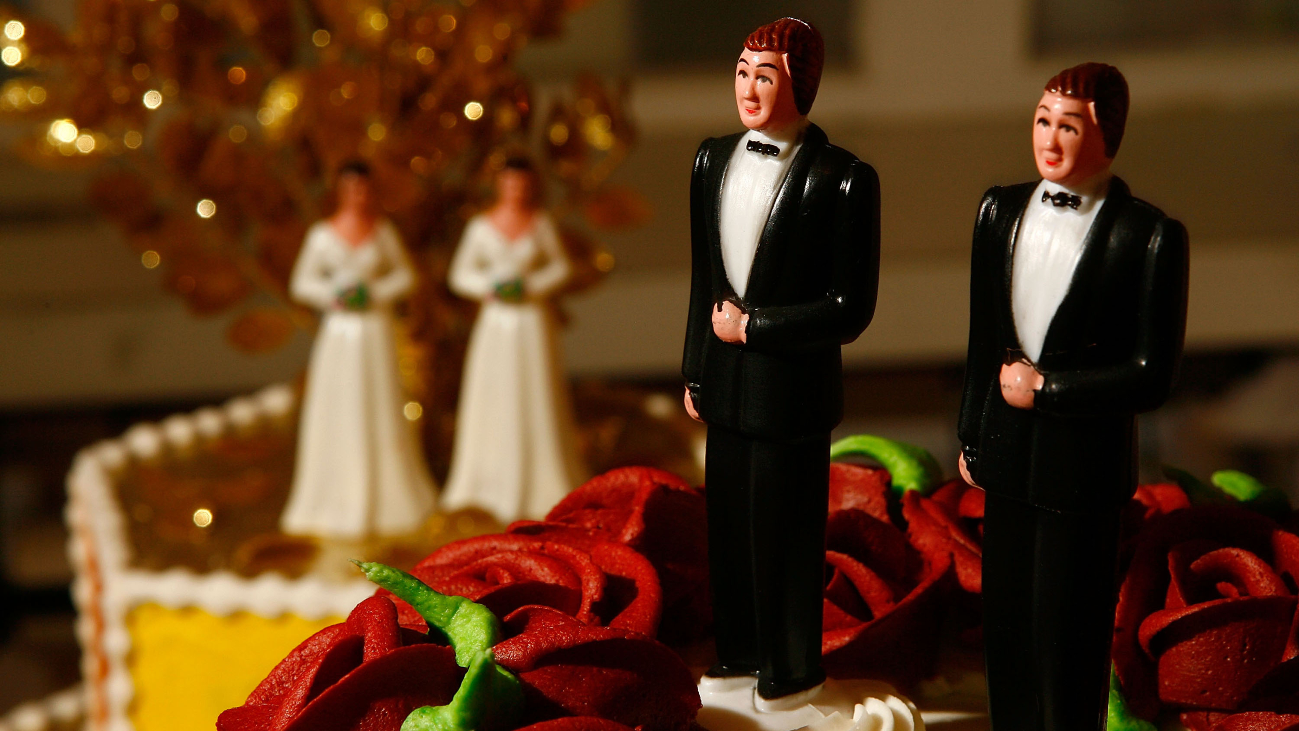WEST HOLLYWOOD, CA - JUNE 10:  Same-sex wedding cake topper figurines are seen at Cake and Art cake decorators June 10, 2008 in West Hollywood, California. Business is increasing sharply for local wedding services in the days leading up to the start of legal marriages for gay and lesbian couples June 17. Same-sex weddings could grow the California wedding industry by $684 million and, over the next three years, add $64 million to the state's budget, a study by the Williams Institute at UCLA's law school reports. The California Supreme Court refused to stay its decision legalizing same-sex marriage despite calls by conservative and religious opponents for the court to stop same-sex couples from marrying before an initiative to amend the state constitution to ban gay marriage goes to ballot in November.   (Photo by David McNew/Getty Images)