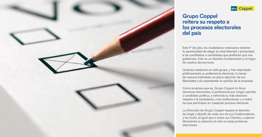 Elecciones 2018 | Coppel invita a sus colaboradores a elegir libremente por quién votar