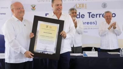 Entrega Quirino siete hectáreas de terreno a la UAS