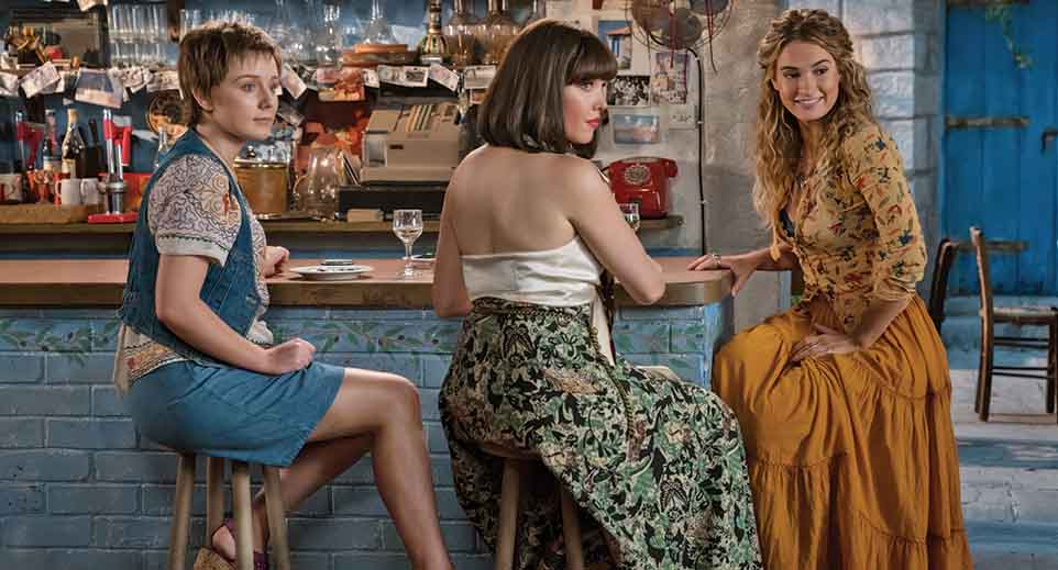 (L to R) Young Rosie (ALEXA DAVIES), Young Tanya (JESSICA KEENAN WYNN) and Young Donna (LILY JAMES) in