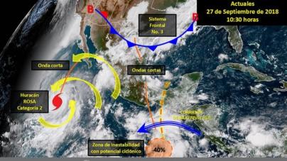 Alerta al Pacífico | Huracán Rosa sube a categoría 2 y se dirige a al Golfo de Baja California