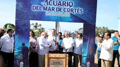 """Colocan primera piedra del nuevo acuario de Mazatlán; """"será el mejor de América Latina"""", señalan"""