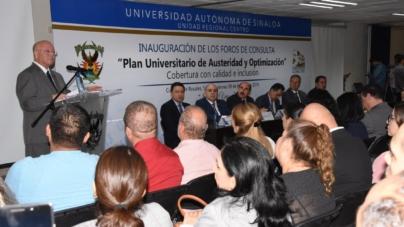 Sin disidencia presente, la UAS inaugura foro sobre austeridad