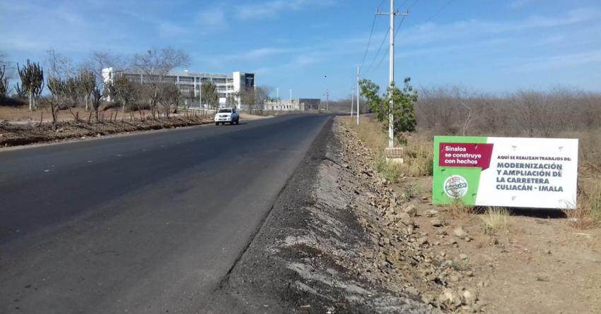 De 60% el avance en ampliación de carretera Culiacán-Imala: Obras Públicas