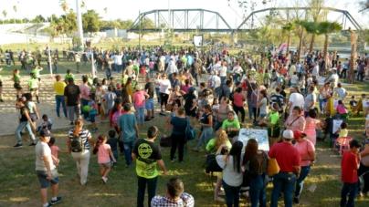 Inauguran parque contra inundaciones frente al puente negro
