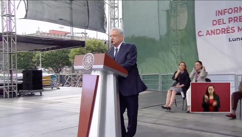 A un año del triunfo electoral rinde AMLO informe en el Zócalo
