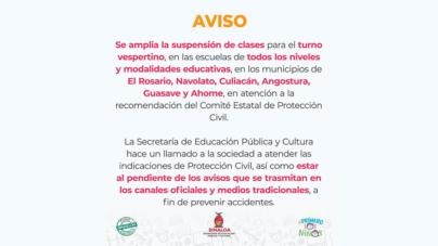 Ni en la mañana ni en la tarde   Amplían suspensión de clases en 6 municipios por  tormenta'Ivo'