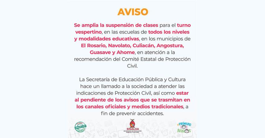 Ni en la mañana ni en la tarde | Amplían suspensión de clases en 6 municipios por  tormenta'Ivo'