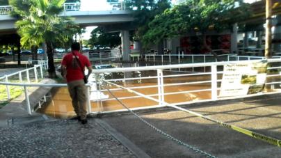 Delimitan los accesos | Vuelven a cerrar Parque Acuático luego de fuertes lluvias