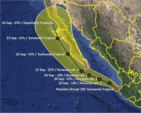 En alerta verde región sur de Sinaloa por tormenta tropical Lorena; habrá lluvias intensas