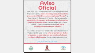 Por 'Narda', amplian suspensión de clases a 18 municipios de Sinaloa