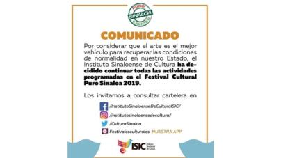 """Se mantienen eventos del Festival 'Puro Sinaloa'; """"arte, el mejor medio para recuperar la paz"""""""