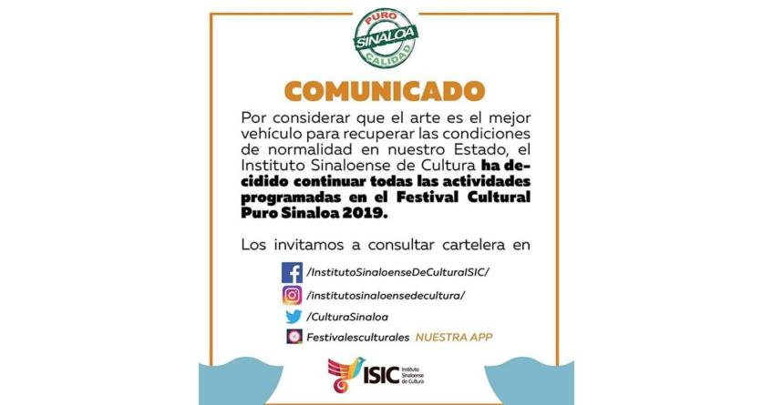 Se mantienen eventos del Festival 'Puro Sinaloa'; «arte, el mejor medio para recuperar la paz»