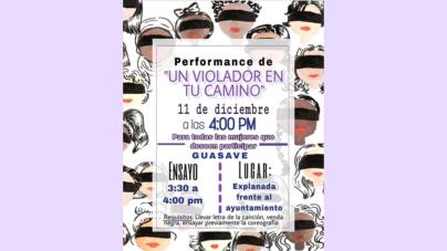 Se suma Guasave | Replicarán performance «Un Violador en tu Camino» frente a Ayuntamiento