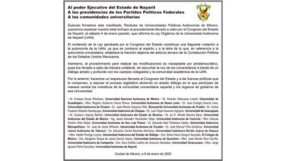 Rechaza UAS reforma 'antidemocrática' a Ley Orgánica de la UAN; piden reponer proceso legislativo