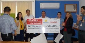 Recibe Proeduca Sinaloa IAP 200 mil pesos por redondeo de FarmaCon y Moderna