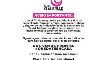 En Culiacán, Plaza Galerías cierra sus puertas ante emergencia sanitaria