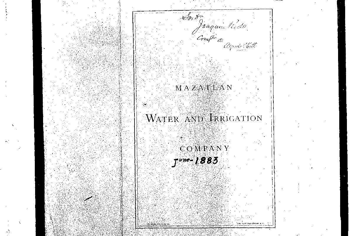Contrato entre el Ayuntamiento de Mazatlán y la Mazatlan Water and Irrigation Company.