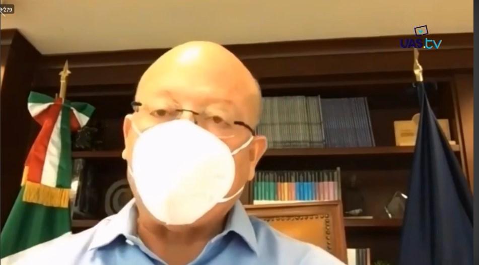 El rector, Juan Eulogio Guerra Liera, durante conferencia virtual. IMAGEN: Captura de pantalla.