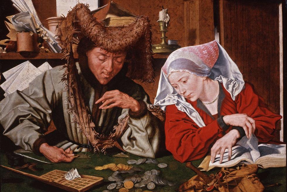 PINTURA: El cambista y su mujer, de Marinus van Reymerswaele.